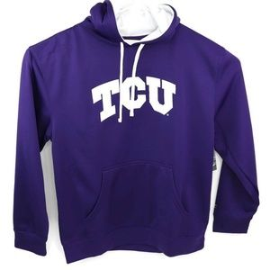 TCU Champion Unisex Hoodie Purple White Drawstring